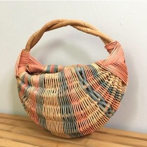 Vintage Boho Wicker Straw Pastel Striped Basket